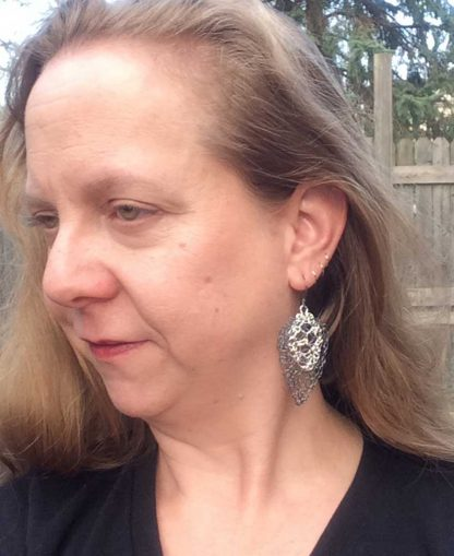 Leaf Lace Earrings Medium Oxidized Small Bright Fine Silver On by Kate Wilcox-Leigh
