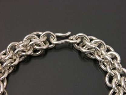 """Sterling silver heavy chain maille bracelet 7"""" detail by Kate Wilcox-Leigh"""
