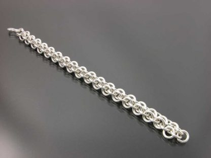 """Sterling silver heavy chain maille bracelet 7"""" flat by Kate Wilcox-Leigh"""