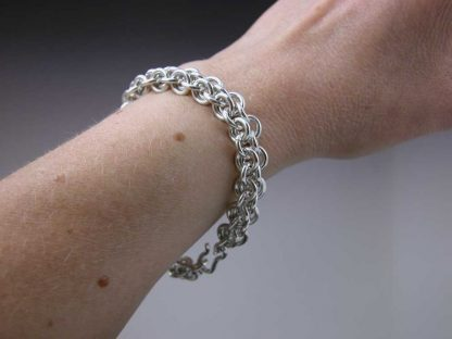 """Sterling silver heavy chain maille bracelet 7""""on by Kate Wilcox-Leigh"""