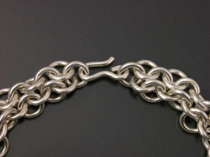 """Sterling silver heavy chain maille bracelet 8"""" detail by Kate Wilcox-Leigh"""
