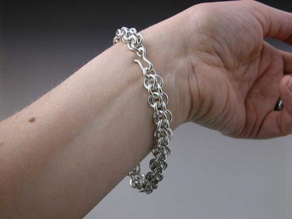 """Sterling silver heavy chain maille bracelet 8"""" on by Kate Wilcox-Leigh"""