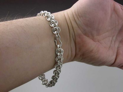 """Sterling silver heavy chain maille bracelet 9"""" on man by Kate Wilcox-Leigh"""