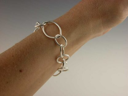Marquise and round link bracelet in fine silver by Kate Wilcox-Leigh