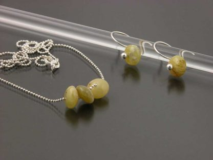 Sterling silver and African Opal earring and necklace set   Gem Spotlight Collection by Kate Wilcox-Leigh