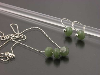 Sterling silver and Jade earring and necklace set   Gem Spotlight Collection by Kate Wilcox-Leigh