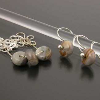 Sterling silver and Picasso Marble earring and necklace set | Gem Spotlight Collection by Kate Wilcox-Leigh