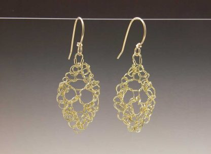 Hand knit leaf lace earrings 18ky gold small by Kate Wilcox-Leigh
