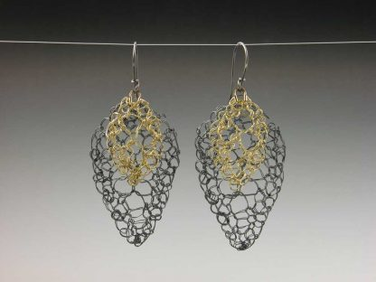Hand knit medium oxidized fine silver with small 18ky gold leaf lace earrings small by Kate Wilcox-Leigh