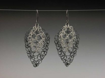 Leaf lace earrings medium oxidized small polished fine silver by Kate Wilcox-Leigh