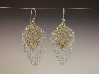Hand Knit 18ky gold and fine silver leaf lace earrings by Kate Wilcox-Leigh