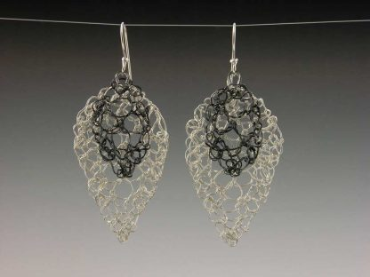 Hand knit leaf lace earrings medium polished with small oxidized motif by Kate Wilcox-Leigh