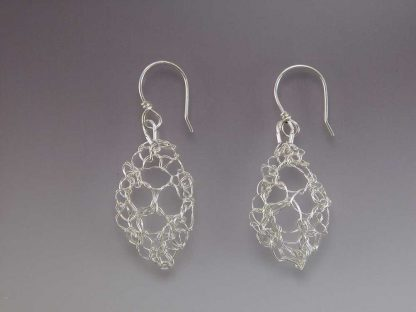 Hand knit leaf lace earrings fine silver polished small by Kate Wilcox-Leigh