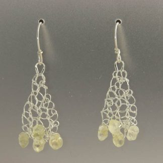 Hand knit fine silver earrings with citrine by Kate Wilcox-Leigh