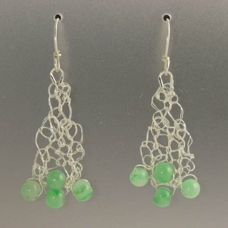Hand knit fine silver earrings with jade by Kate Wilcox-Leigh