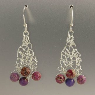 Hand knit fine silver with purple impression jasper earrings by Kate Wilcox-Leigh