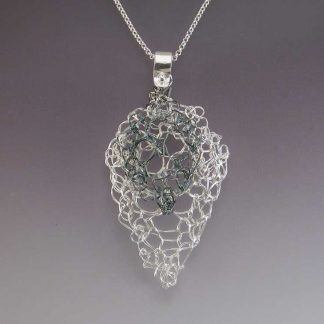 Hand knit leaf lace necklace medium polished and small oxidized by Kate Wilcox-Leigh