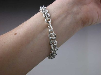 "Sterling silver heavy chain maille bracelet 7"" clasp on by Kate Wilcox-Leigh"
