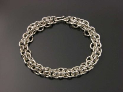 "Sterling silver heavy chain maille bracelet 8"" flat by Kate Wilcox-Leigh"