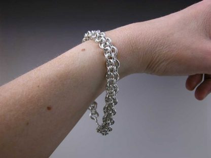 "Sterling silver heavy chain maille bracelet 8"" on by Kate Wilcox-Leigh"