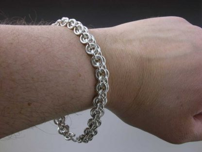"Sterling silver heavy chain maille bracelet 9"" by Kate Wilcox-Leigh"