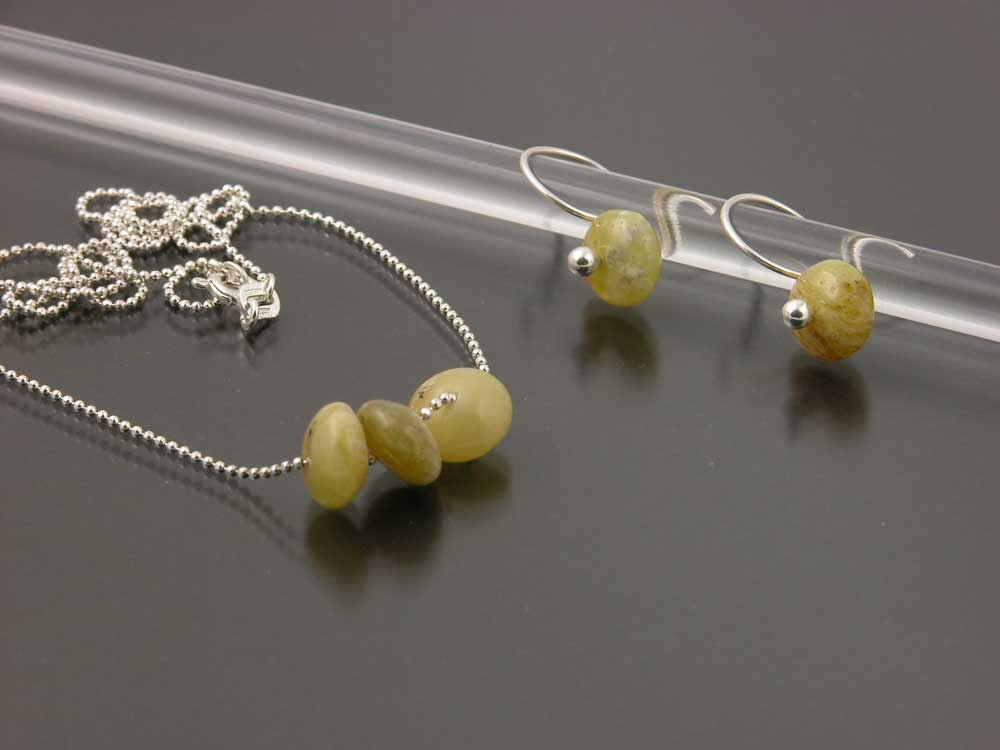 Sterling Silver And African Opal Earring Necklace Set Gem Spotlight Collection By Kate Wil