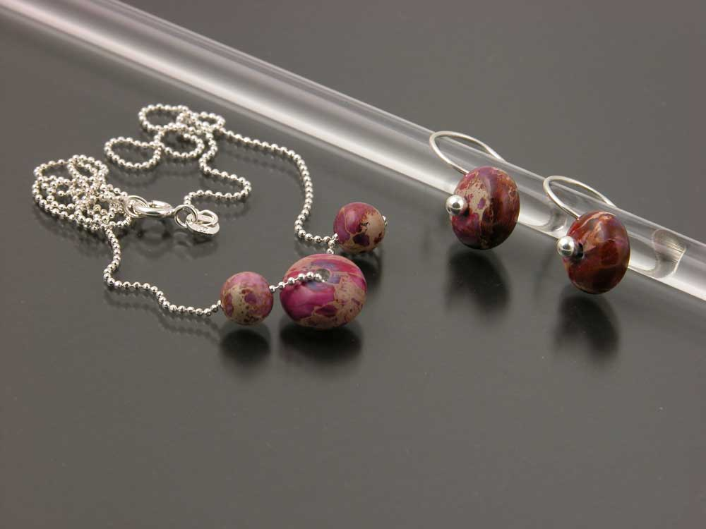 Bracelet and Earrings Impression or Imperial Jasper Sterling Silver Set with Necklace