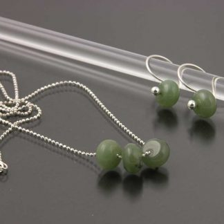 Sterling silver and Jade earring and necklace set | Gem Spotlight Collection by Kate Wilcox-Leigh