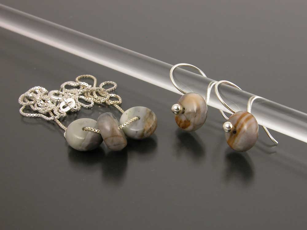 Sterling Silver And Pico Marble Earring Necklace Set Gem Spotlight Collection By Kate Wil