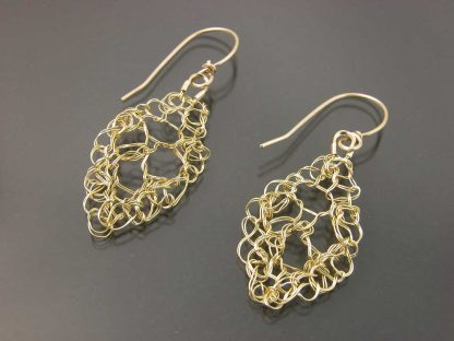 Hand knit leaf lace earrings small in 18ky gold by Kate Wilcox-Leigh