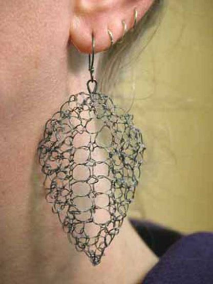 Hand knit leaf lace earrings large oxidized by Kate Wilcox-Leigh