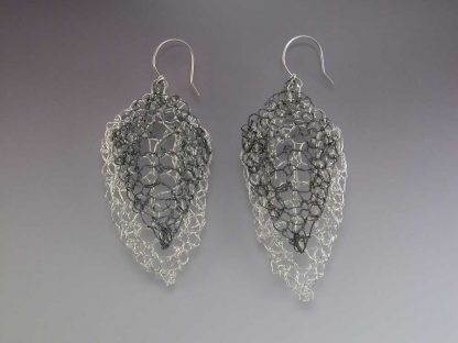 Leaf lace earrings large polished with medium oxidized fine silver by Kate Wilcox-Leigh