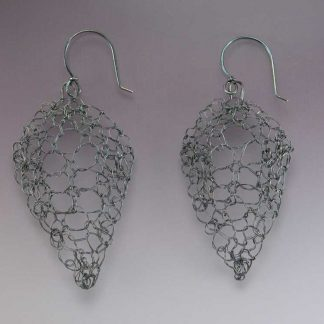 Hand knit medium oxidized fine silver leaf lace earrings by Kate Wilcox-Leigh