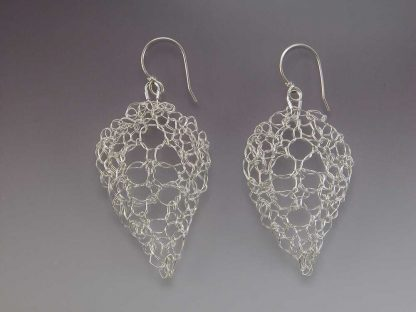 Hand knit leaf lace earrings fine silver polished medium by Kate Wilcox-Leigh