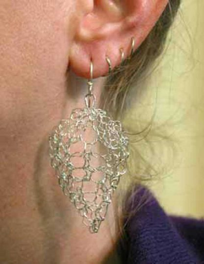 Hand knit leaf lace earrings medium polished by Kate Wilcox-Leigh