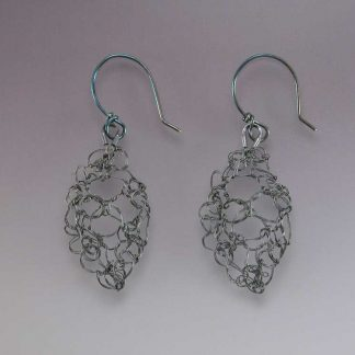 Hand knit leaf lace earrings fine silver oxidized small by Kate Wilcox-Leigh