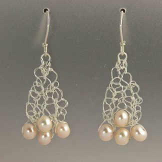 Hand knit fine silver earrings with pearls by Kate Wilcox-Leigh