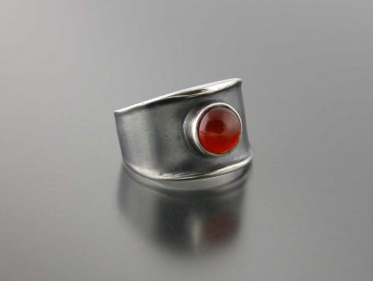 Narrow sterling thickened edge ring with carnelian by Kate Wilcox-Leigh