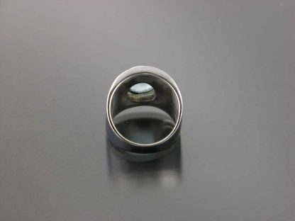 Sterling thickened edge ring with aquamarine by Kate Wilcox-Leigh