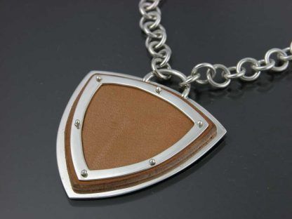 Kate Wilcox-Leigh Medium Leather Trillion Framed in Sterling Silver with Hand Crafted Chain