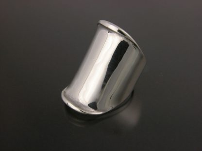 Kate Wilcox-Leigh Ring Thickened Edge Wide Sterling 3qtr Left View