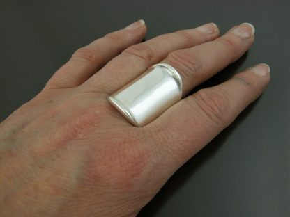 Kate Wilcox-Leigh Ring Thickened Edge Wide Sterling On 2