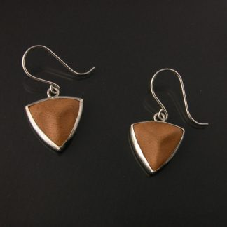 Kate Wilcox-Leigh earrings sterling bezel set leather trillion small laid out