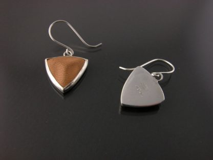 Kate Wilcox-Leigh earrings sterling bezel set leather trillion small laid out one flipped