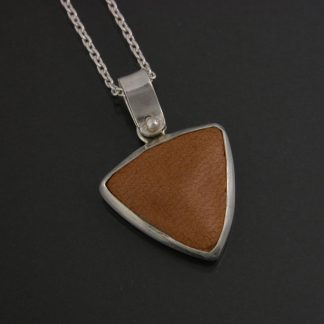 Kate Wilcox-Leigh pendant sterling bezel set leather trillion small close-up