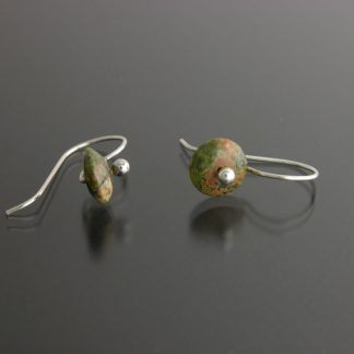 Kate Wilcox-Leigh Gem Spotlight earrings sterling unakite laid out 2018033