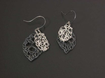 Kate Wilcox-Leigh Leaf Lace Earrings Small Oxidized Xsm Polished Laid Out