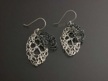 Kate Wilcox-Leigh Leaf Lace Earrings Small Polished Exm Oxidized Laid Out